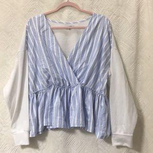 FASHIONNOVA blue & white stripe peplum top